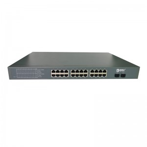 24 puertos 10/100 / 1000M PoE Port + 2 Gigabit SFP puerto de fibra, Smart Switch PoE JAI-P420024B