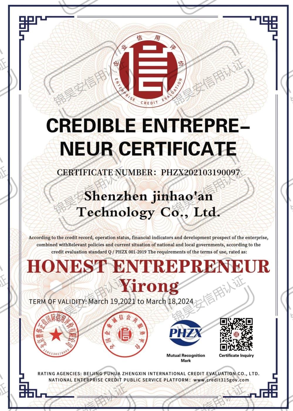 Credible Entrepreneur Certificate