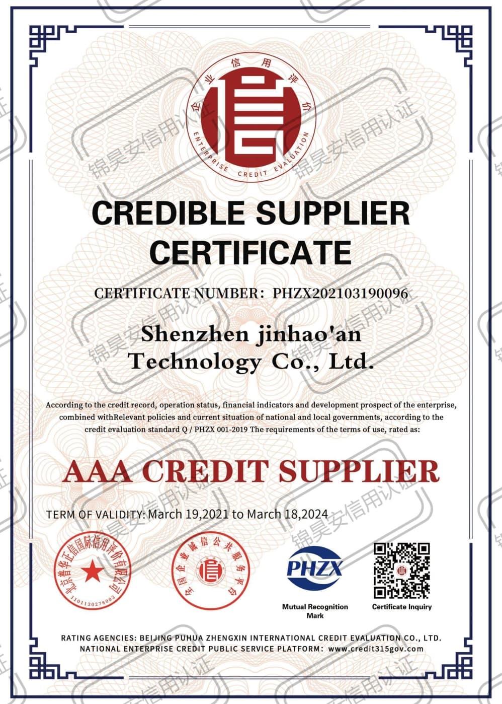 Credible Supplier Certificate