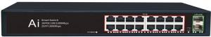 16 Ports 10/100/1000M PoE Port+2 Gigabit SFP Fiber Port, Smart PoE Switch JHA-P420016BMH