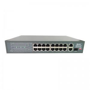 16 Ports 10/100M PoE+2 Uplink Gigabit Ethernet Port+1 Gigabit SFP Fiber Port,Smart PoE Switch JHA-P312016CBM