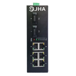 6 10/100TX PoE/PoE+ and 2 100FX | Unmanaged Industrial PoE Switch JHA-IF26P